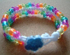 White and Rainbow Sparkle Bead Macrame Bracelet (EBSQ) | by Groovy Pumpkin