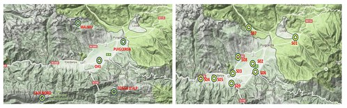 Mapes amb les estacions fixes del Servei Meteorològic de Catalunya i les mòbils de Météo-France.