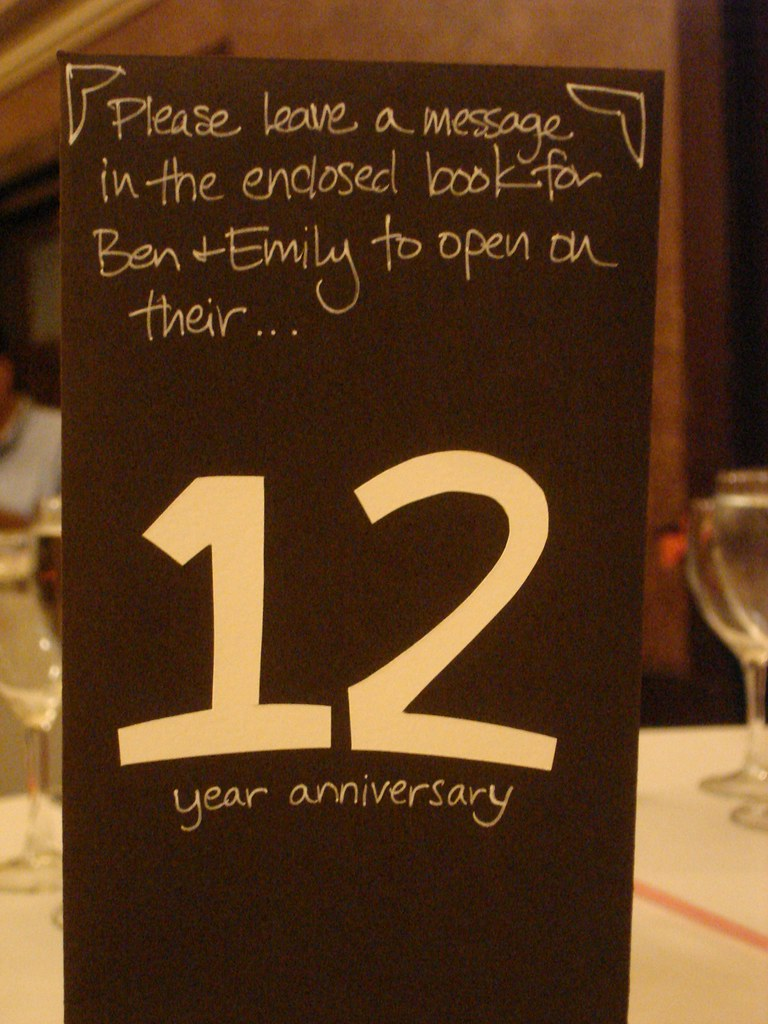 12th Anniversary The Table Numbers At The Wedding