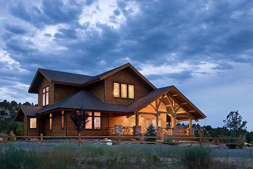 Distinct western elegance timber frame home exterior clo for Timber frame exteriors