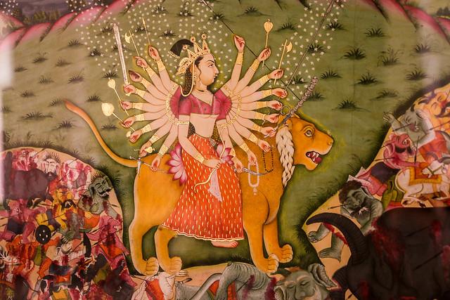 Painting of a goddess in Mehrangarh Fort, Jodhpur, India ジョードプル メヘラーンガル・フォート博物館の女神の絵画