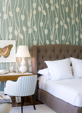 ... Modern Wallpaper: Lovely Green + Brown + White Bedroom + Floral  Wallpaper + Upholstered Headboard