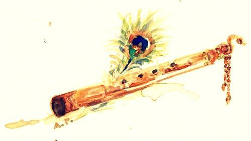 krishna 39 s flute water color on printing paper anjali tripathi flickr. Black Bedroom Furniture Sets. Home Design Ideas