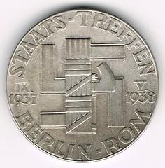 1938 Third Reich Hitler-Mussolini Medal reverse