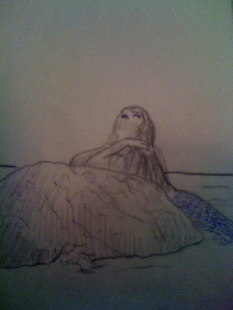 Mermaids Look Mermaid Looking up Sketch