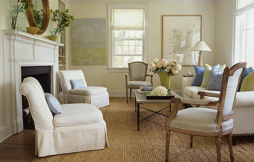 Simple Elegance Classic White Living Room French Chairs Green