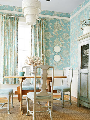 Modern wallpaper blue white dining room botanical pri for Modern wallpaper designs for dining room