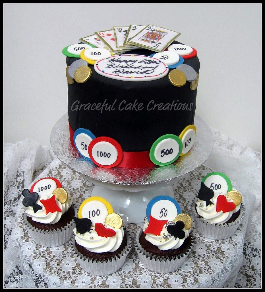 Poker Themed Birthday Cake And Cupcakes Grace Tari Flickr