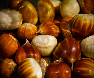 Collection of sweet chestnuts out of their shells | by SimonDeanMedia