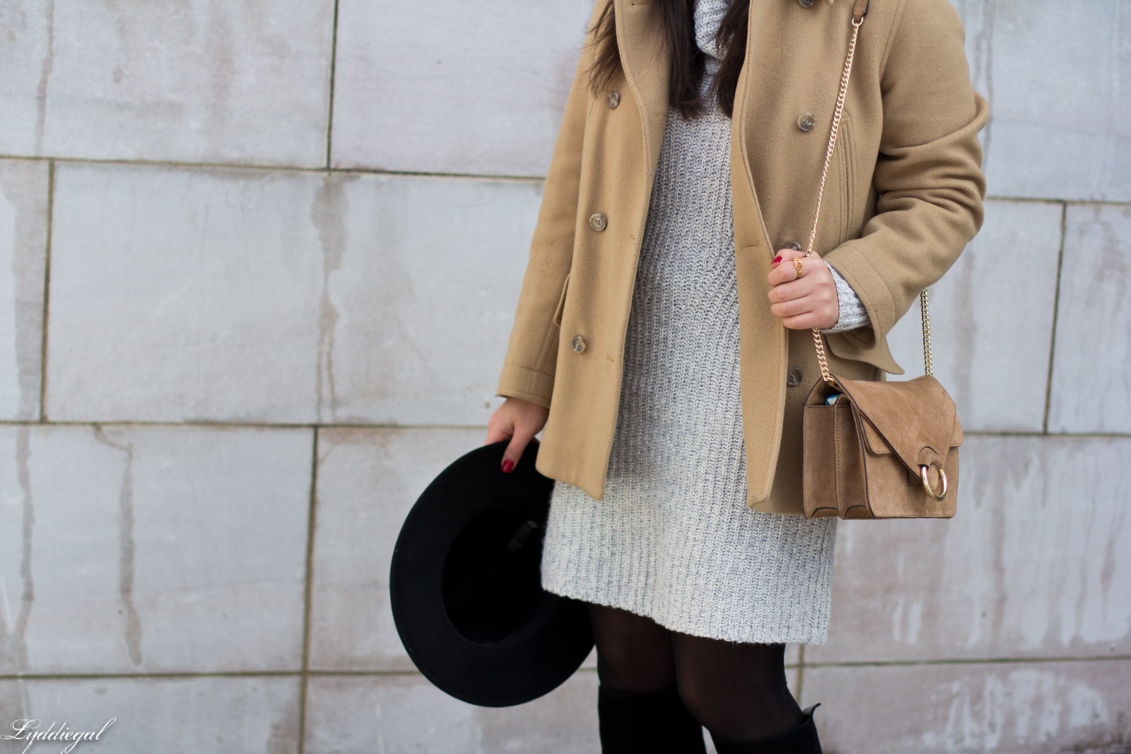 grey sweater dress, camel peacoat, black boots, winter outfit-4.jpg