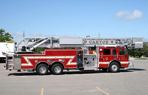 canton 100 foot pierce ladder truck sitting at meijer in c flickr