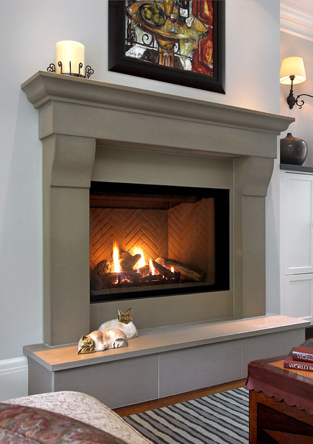 Cornice Linen Cast Concrete Fireplace Mantel | WIth Slab ...