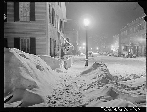 "Center of town. Woodstock, Vermont. ""Snowy night"" (LOC) 