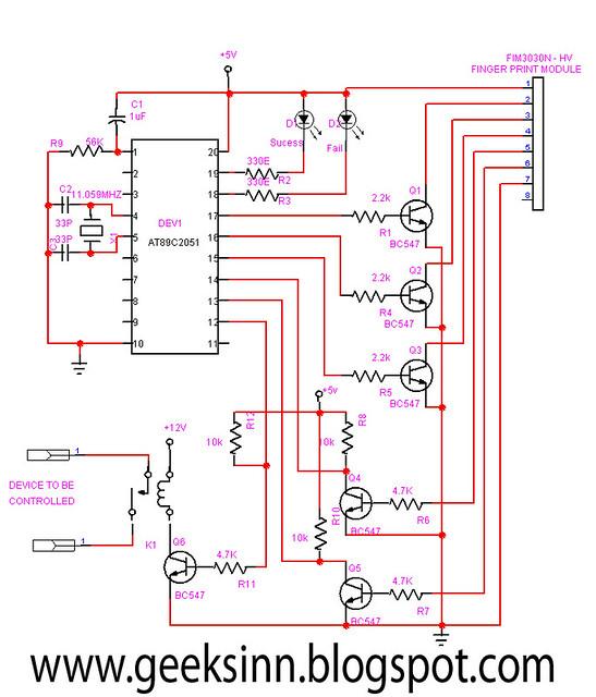 Circuit For Fingerprint Security System Geeksinn