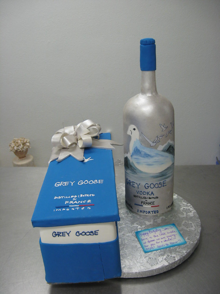3 D Grey Goose Vodka Bottle Fondant Bottle Scene Is