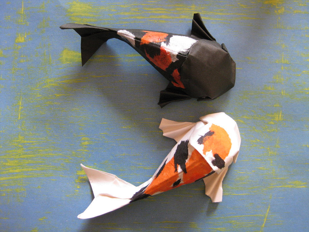 Origami koi fish for jamie made from elephant hide for Origami koi fish