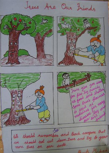 how to draw save trees and save life