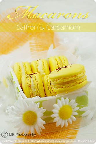 Saffron Macarons with Cardamom White Chocolate Ganache | by MeetaK