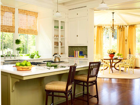 ... Yellow Kitchen + White Cabinets + Painted Island: U0027Pale Houndu0027 + U0027Green