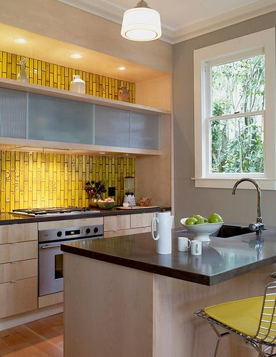 yellow subway tile kitchen backsplash modern yellow kitchen heath subway tiles bertoia barst 1990