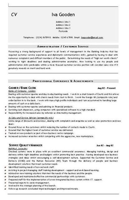 admin cv template
