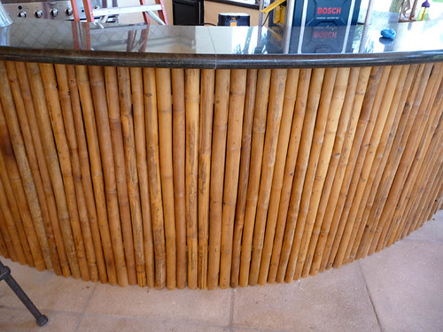 Bamboo Finished Bar Granite Counter Top Outdoor Kitchen