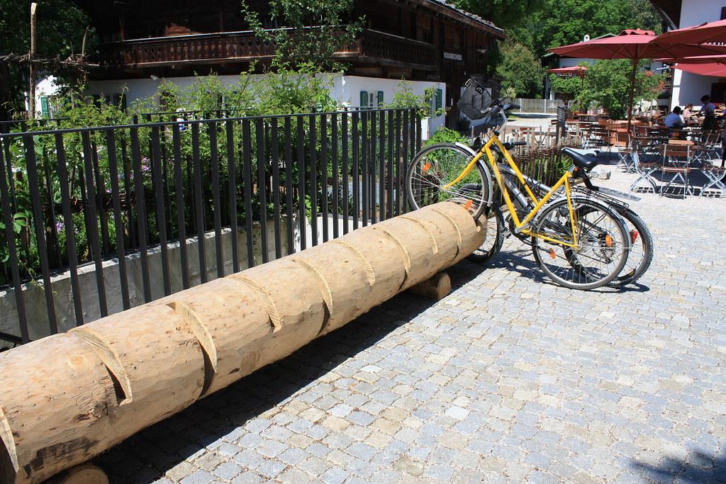 Bike Rack Log Garmisch Partenkirchen Another Kind Of