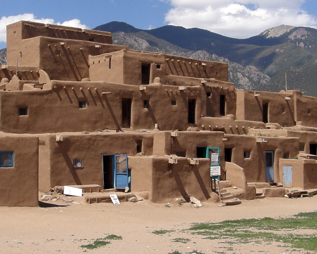 Adobe Houses Taos Puebo Outside Taos New Mexico Is