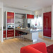 modern red white interior design