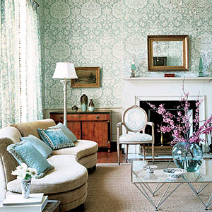 Modern wallpaper beautiful blue white damask in modern for Damask wallpaper living room ideas