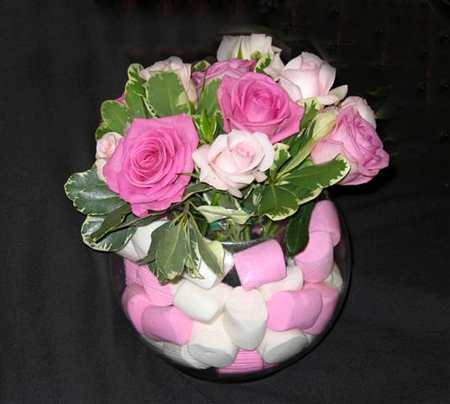 Baby shower centerpiece marshmellows and roses