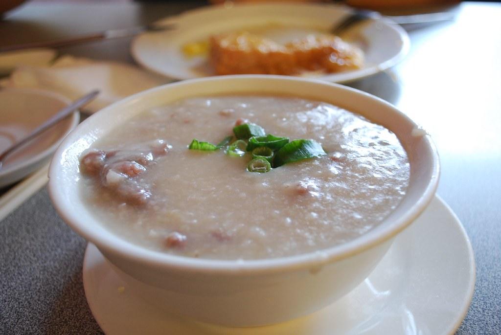 牛肉粥 Minced Beef Congee - Set B Congee and Fried Noodle - Ching Yip Hongkong Cafe AUD6.50