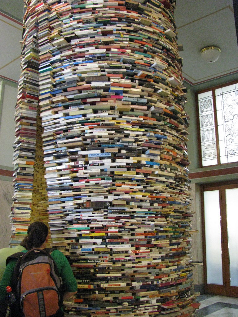 Book Sculpture In Prague National Library Inside The