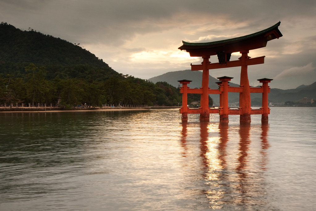 torii gate miyajima island have been away in japan the