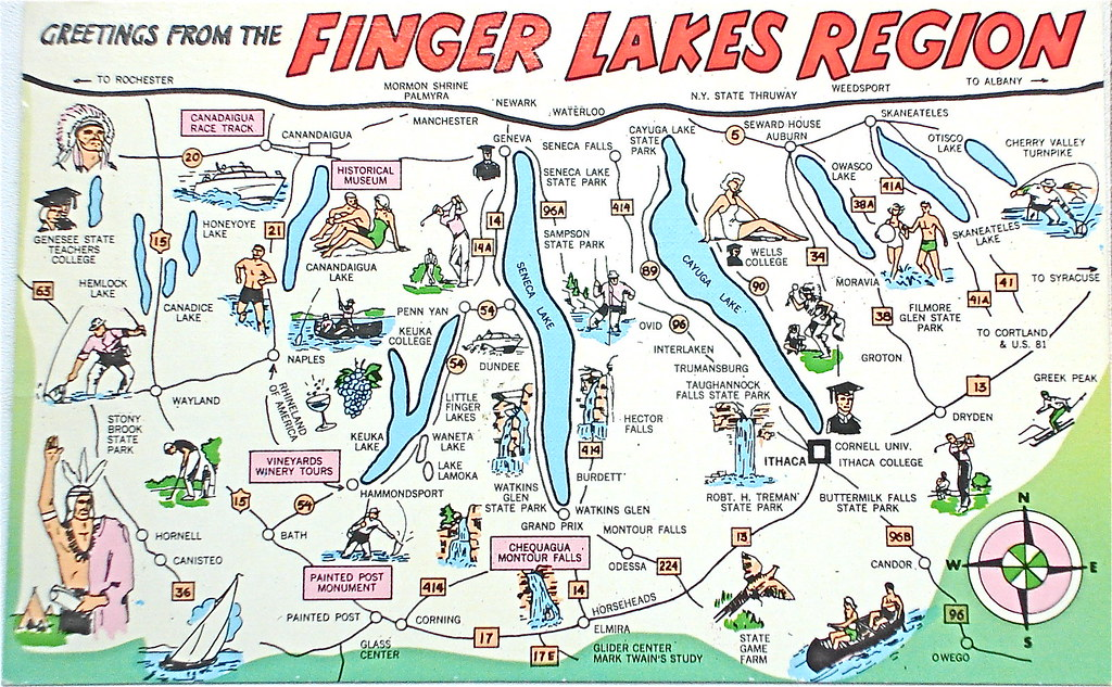 Greetings from the Finger Lakes Region postcard | Back text:… | Flickr