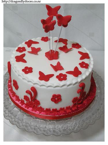 Branco E Vermelho Bolo Red And White Cake A Cake Made
