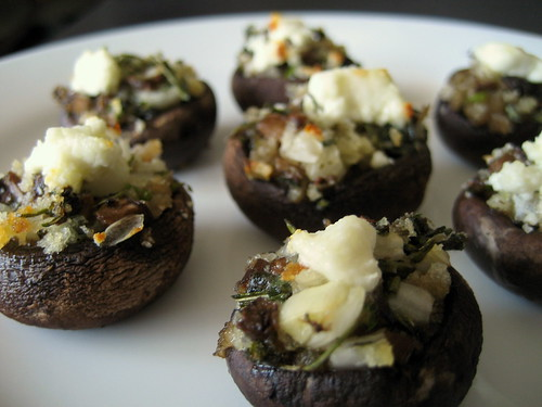 stuffed mushrooms with herbs and goat cheese | by Stacy Spensley