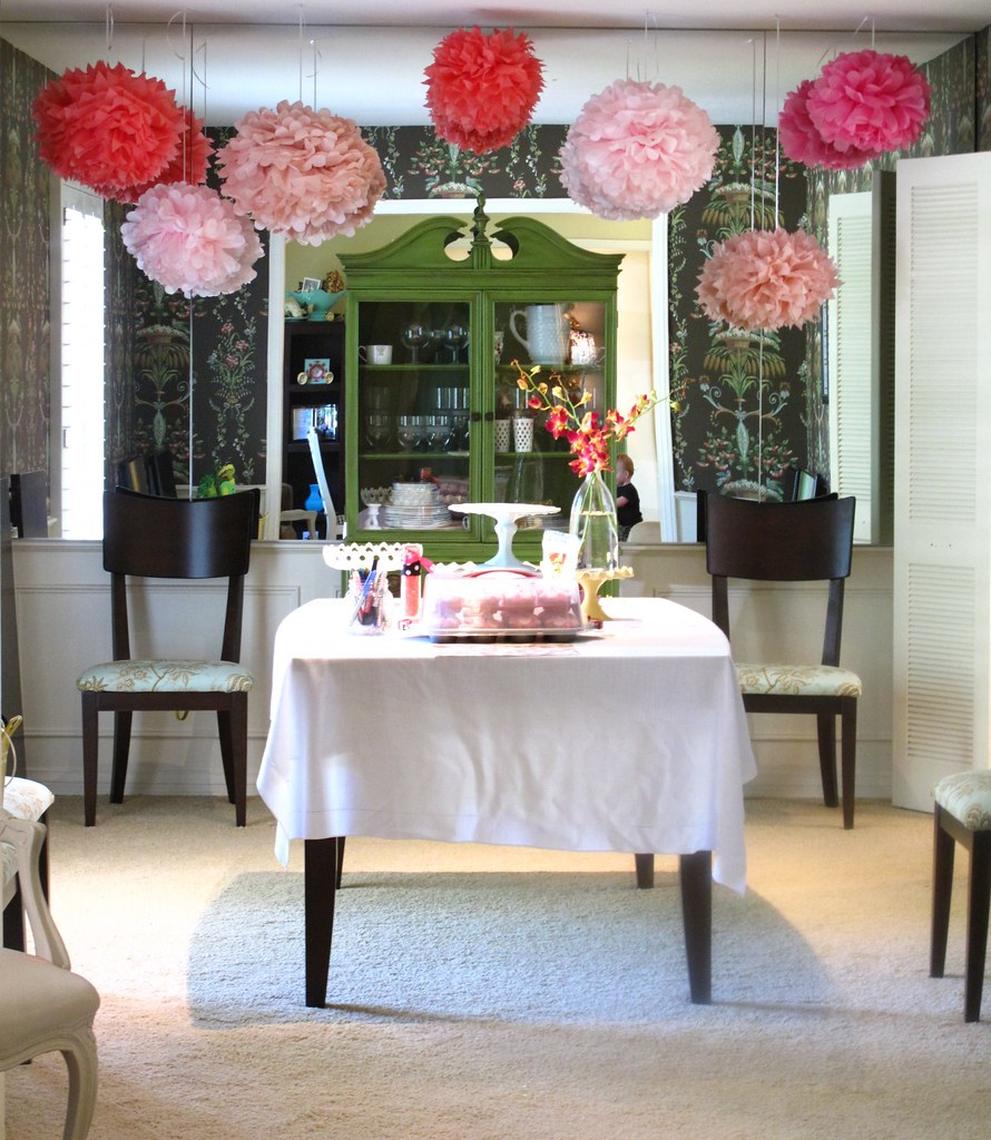 Baby shower prep martha stewart pompoms the dining room - Baby shower decorations martha stewart ...