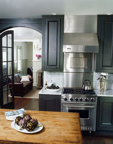 Painted kitchen cabinets dark gray ralph lauren 39 surrey Painting your kitchen cabinets white and gray