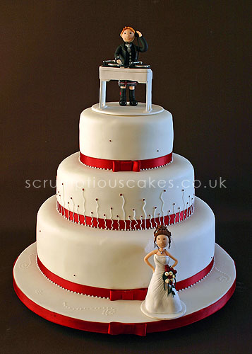Wedding Cake 504 Piping Personalised Cake Topper By