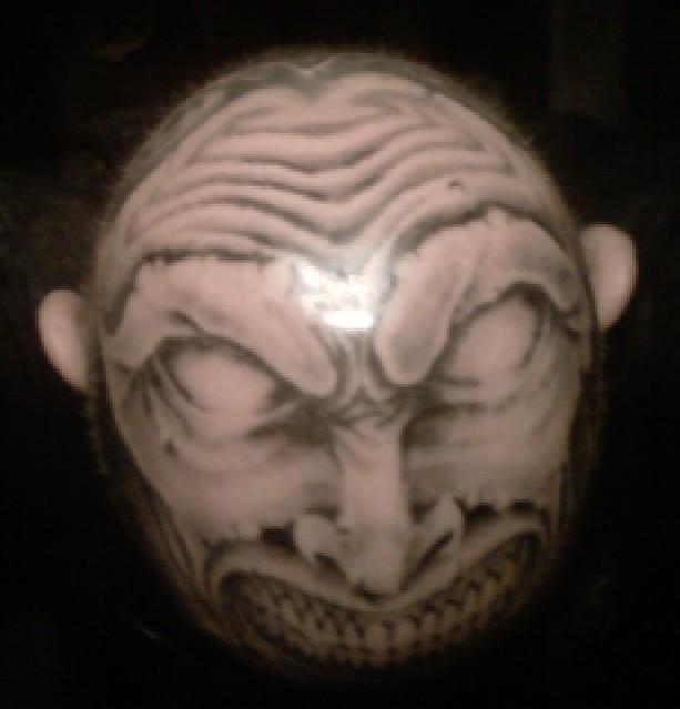 scalp tattoo still healing scalp tattoo still healing