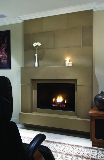 Block nutmeg cast concrete fireplace mantel with wall for Concrete mantels and hearths