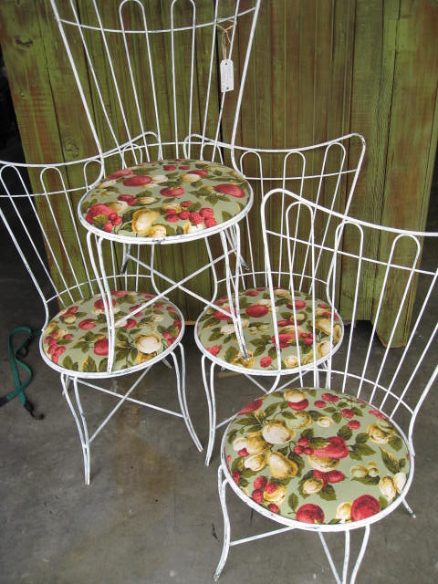 Superieur ... 4 Vintage White Wrought Iron Upholstered Chairs $130 | By The Classic  Farmhouse