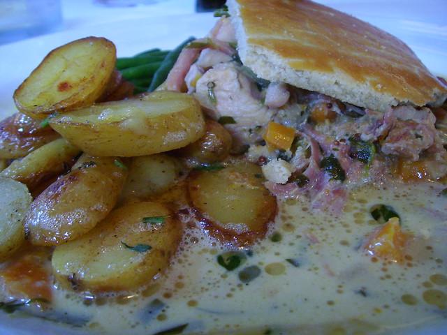 Chicken, ham hock & tarragon pie with new potatoes & green ...