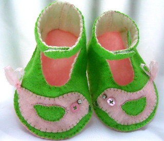 pink green PBK Penelope bird baby booties 6 | by Beyond.the.Box
