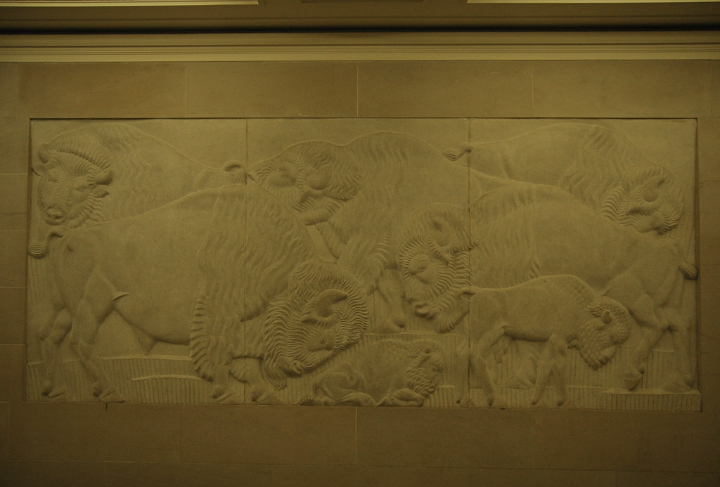 Bison Wall Relief Carving Department Of The Interior Muse Flickr