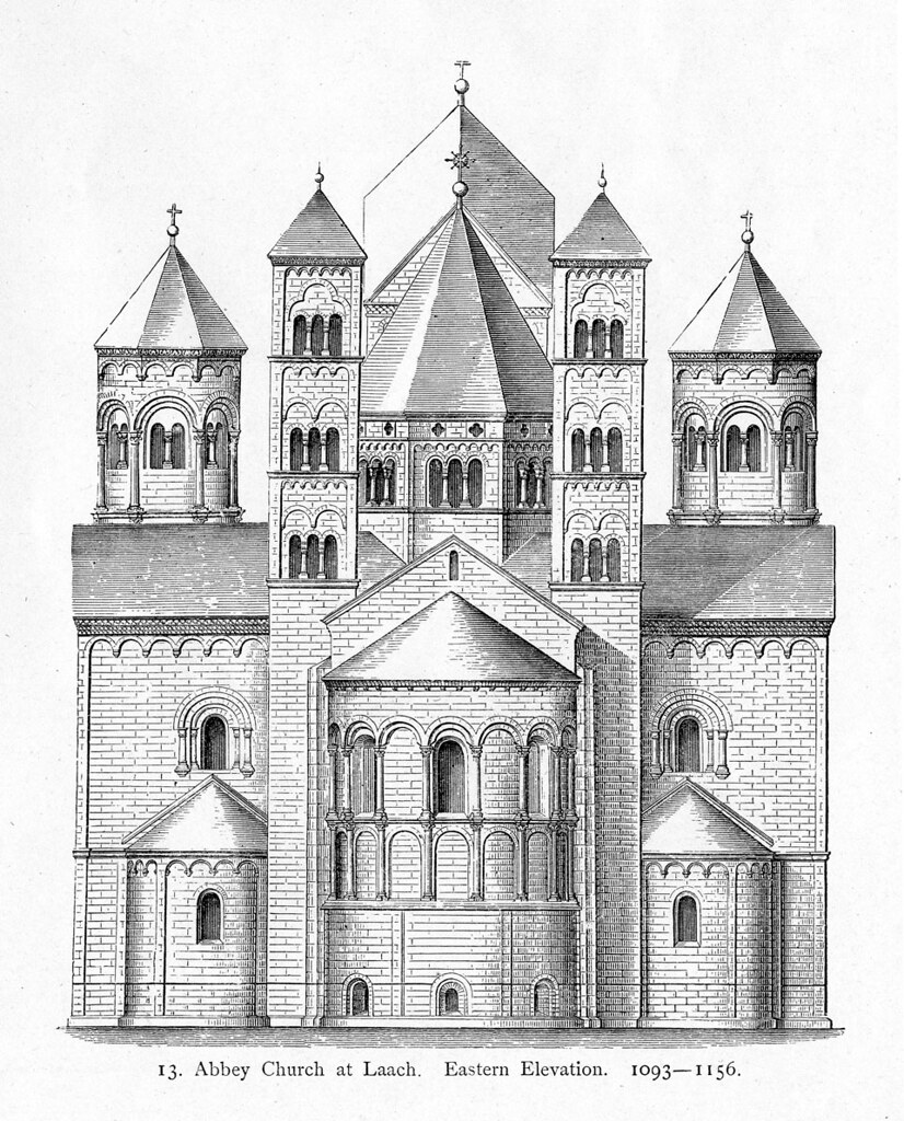 Plan Vs Elevation : Abbey church maria laach elevation from east title