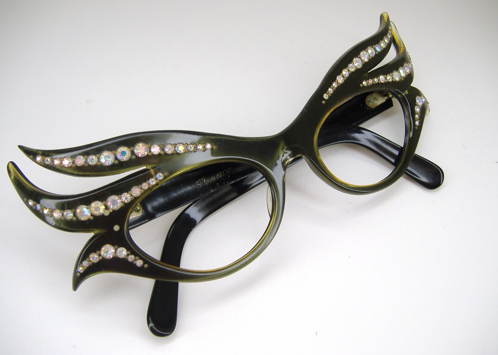 Eyeglasses Frames With Bling : Rare vintage rhinestone eyeglasses sunglasses frame Flickr