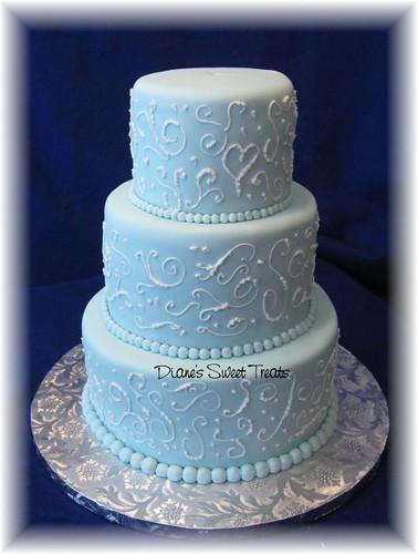 Blue Fondant Cake Design : light blue fondant wedding cake with scrolls This tiered ...