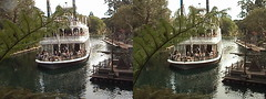 3D, S. S. Mark Twain - Sternwheel Packet Steamboat, view South from Hungry Bear Restaurant, Rivers of America, Critter Country, Disneyland®, Anaheim, California, 2008.10.31 12:52 | by Dr. Disney Wizard